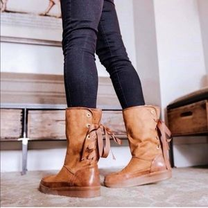 Shoes - COFFEE COLOR BACK LACE UP BOOTS